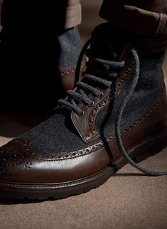 Brunello Cucinelli Brown Leather and Gray Wool Wingtip Boots, Men's Fall Winter Fashion. Me Too Shoes, Men's Shoes, Shoe Boots, Dress Shoes, Boys Shoes, Mens Fall, Winter Fashion Outfits, Well Dressed Men, Swagg