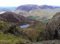 View from Chapel Craggs, down to Bleaberry Tarn & Buttermere village in the Valley