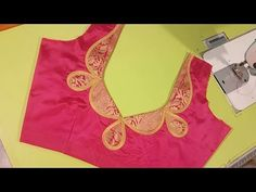 This video shows the beautiful silk saree model blouse stitching in a very easy way. Patch Work Blouse Designs, Simple Blouse Designs, Stylish Blouse Design, Chudi Neck Designs, Dress Neck Designs, Saree Blouse Neck Designs, Designer Blouse Patterns, Blouse Models, Gold Blouse