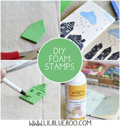 DIY foam stamps via lilblueboo, might be a fun project or reward for my graders Kids Crafts, Foam Crafts, Craft Projects, Paper Crafts, Craft Foam, Stamp Printing, Printing On Fabric, Foam Stamps, Stamp Carving