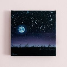 Christmas SALE 20% OFF Night sky  painting Starry by ArtColorSpace