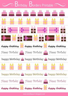 FREE printable birthday border sheet ^^