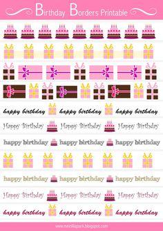 Free printable birthday border sheet - ausdruckbare Geburtstags Clipart - freebie | MeinLilaPark – DIY printables and downloads