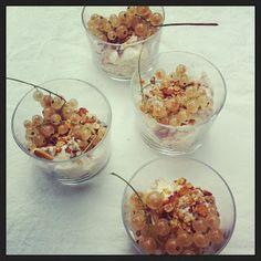 Mascarpone-yoghurt-potjes met witte aalbessen