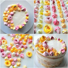 make variations of meringue 'kisses' for cake decoration, instead of piped buttercream. (Is it sad I want meringue at my wedding more than I wanf cake! Pavlova, Buttercream Cake Decorating, Cake Decorating Tips, Meringue Cookies, Meringue Kisses, Cute Cakes, Pretty Cakes, Sweet Recipes, Cake Recipes