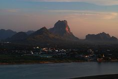 Hpa-an, Myanmar at sunset.  With Mount Zwekabin as the backdrop, this is a lovely quaint town.