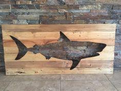 Distressed Great White Shark Wooden Pallet Art