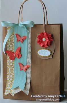 Stampin' Up! Gift Bag by Amy's Paper Crafts: butterfly bag (diy paper bag) Craft Bags, Craft Gifts, Diy Gifts, Handmade Gifts, Paper Gift Bags, Paper Gifts, Diy Paper, Paper Ribbon, Pretty Packaging