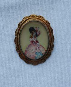 Thomas L Mott TLM Handpainted Brooch Pin Lady in Pink Dress Hat Made in England #TLM