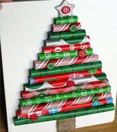 Christbaum aus Geschenkpapierrollen - Basteln mit Kindern