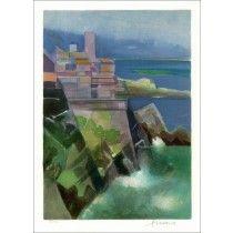 """HILAIRE Camille - Lithographie Originale """"Côte d'Azur, Antibes"""" 50x37cm"""