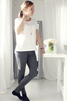 LA PETITE PRINCESSE: Lisää keväisiä asuja. Basic stylish outfit with tweed leggins and white tee.