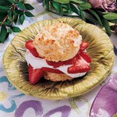 Strawberry Biscuit Shortcake- I halved the recipe (we didn't need 8) I did 3 tbsp of butter and about 1.5 tbsp of sugar! They turned out awesome!