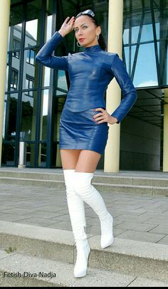 Hot leather outfit with boots Thigh High Boots Heels, Hot High Heels, White Boots, Sexy Boots, Sexy Outfits, Sexy Dresses, High Leather Boots, Leather Dresses, Dress With Boots