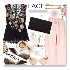 """""""Floral Lace Peplum Top"""" by queenvirgo ❤ liked on Polyvore featuring Marchesa, River Island, Giambattista Valli, Accessorize, Tory Burch, Linda Farrow and By Terry"""