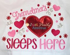 Grandma's Heart Pillowcase Applique Saying Design