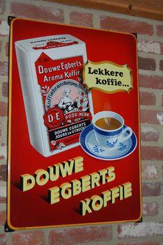 emaille reclamebord douwe egberts lekkere koffie