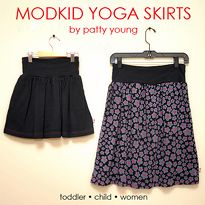 Yoga Skirt Tutorial (Toddler   Child   Women). Soft folded waistband with a knit or woven twirly skirt panel. Tips for working with the knit/woven combo, plus general guidelines for getting the measurements right.