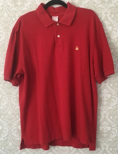 Brooks Brothers size L golf polo t shirt red original fit short slv 100% cotton #BrooksBrothers #golfshirt