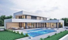 Houses House for sale Spain – build house costa blanca – TC Sıtkı Derya – Join the world of pin Home Building Design, Building A House, Modern Architecture House, Architecture Design, Houses For Sale Spain, L Shaped House, Casas The Sims 4, Modern Villa Design, Luxury Homes Dream Houses