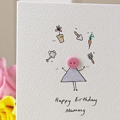 Personalised Handmade Button Gardener Birthday Card
