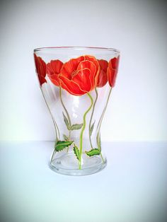 Hey, I found this really awesome Etsy listing at https://www.etsy.com/listing/233510556/painted-glass-vase-red-poppies-hand