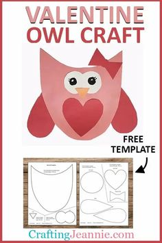 This Valentine Owl craft (with TEMPLATE) is super easy and fun! Make it for the classroom, preschool or Valentine's day party. Get the Free Template and Step-by-Step instructions to make enough for your preschool valentines day craft. #CraftingJeannie #ValentinesDay #OwlCraft #preschoolvalentinesdaycrafts #valentinecraft #valentineowl
