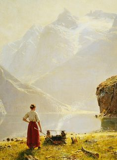 A Summer Day On A Norwegian Fjord Painting