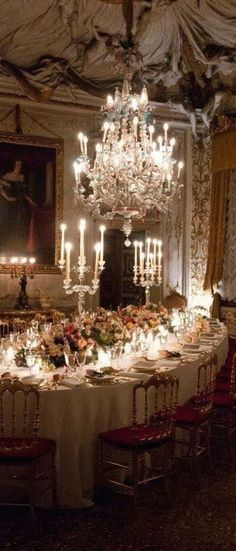 Chic French candlelight and gorgeous crystal chandelier