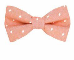 Salmon - White Tommy Hilfiger Designer Pre-Tied Bow Tie