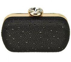 LADIES BLACK GOLD SLEEK CHAIN BOX CLUTCH HANDBAG EVENING BAG WEDDING SPARKLE