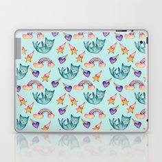 Buy Dreamy Cat Floating in the Sky Watercolor Pattern Laptop & iPad Skin by namibear. #dog #whimsical #rainbow #cute  #cat #cats #catLovers  #pet #pets  #pattern #patterns   #illustrations #illustration  #gift #gifts #giftideas #giftforher  #animal #animals