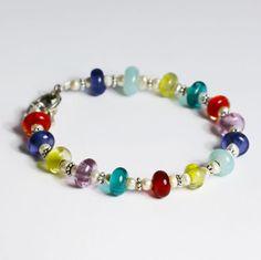 Rainbow and pearl bracelet, each bead is hand blown murano glass by Felice Designs - www.felicedesigns.com
