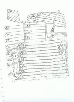 Schrijfpatronen op badlaken Preschool Writing, Preschool Lessons, Preschool Worksheets, Pre Writing, Writing Skills, Learning To Write, Summer Activities For Kids, Holidays With Kids, New School Year