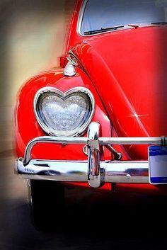 Red Volkswagen Beetle with heart-shaped headlights. The ultimate Love Bug ❤️ My Dream Car, Dream Cars, Vw Caddy Mk1, Vw T1 Camper, Volkswagen Bus, Carros Vintage, Vw Vintage, Vintage Signs, I Love Heart