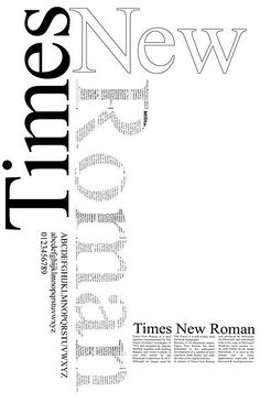 """A Times New Roman poster showing some examples and explaining its history. I like the design choice of offsetting each word and text filling """"Roman"""" Typo Design, Design Typography, Creative Typography, Typography Letters, Lettering, Web Design, Simple Typography, Poster Fonts, Poster S"""