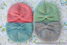 crochet baby turban pattern - Personally, my LO doesnt look good in hats, but looks adorable in headbands, so I would just do the bottom of this turban in very color imaginable! :)