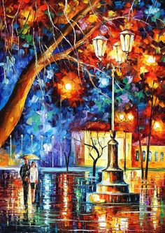 Winter Rain — PALETTE KNIFE Oil Painting On Canvas By Leonid Afremov