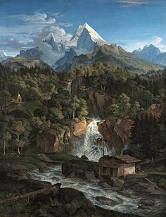 The Watzman, 1824, oil on canvas by Adrian Ludwig Richter, German, 1803-1884. This painting is in the Neue Pinakothek gallery in Munich, Ge...