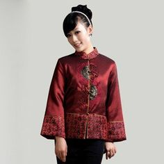 Red Taffeta Mascot Embroidery Traditional Chinese Wadded Jacket for Mother - iDreamMart.com