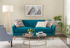 Get inspired by Modern Living Room Design photo by Room Ideas. Wayfair lets you find the designer products in the photo and get ideas from thousands of other Modern Living Room Design photos. Living Room Kitchen, Living Room Sets, Living Room Furniture, Living Room Designs, Living Room Decor, Turquoise Sofa, Living Room Turquoise, Living Room Remodel, Sofa Design
