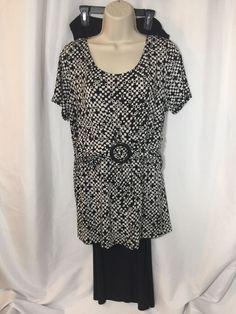 3577e6786bbd Danny And Nicole Pants Set Ladies Size 14 Black White Geometric Polyester  Dressy   eBay Ladies