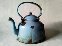 French Vintage ENAMELWARE TEAPOT kettle rustic blue LARGE/ French decor /French kitchen / Shabby chic/ French country /Rustic Wedding