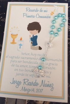 First Communion Favor Printed, Communion Boy, Praying Boy, Chalice Blue Prayer or Remembrance Card, Boys First Communion, First Communion Favors, Baptism Favors, Recuerdos Primera Comunion Ideas, Baby Baptism, Prayer Cards, Birthday Diy, Diy Party, Party Ideas