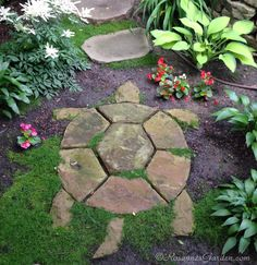 Turtle Stepping Stone in a Cottage Garden Path - ~~Garden~~Imagine the unexpected delight when you stumble (figuratively speaking) across this charming turtle on a garden path. Whether you can call it garden whimsy or you call it garden art, it almos Garden Steps, Garden Yard Ideas, Garden Crafts, Lawn And Garden, Backyard Ideas, Cool Garden Ideas, Diy Garden Projects, Cool Ideas, Outdoor Projects