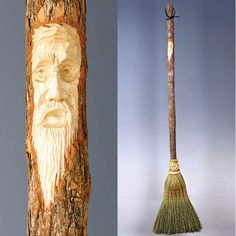 Carved, handmade brooms!