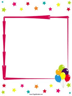 Great for birthday parties, this free, printable border includes colorful stars and a bunch of balloons. Free to download and print.