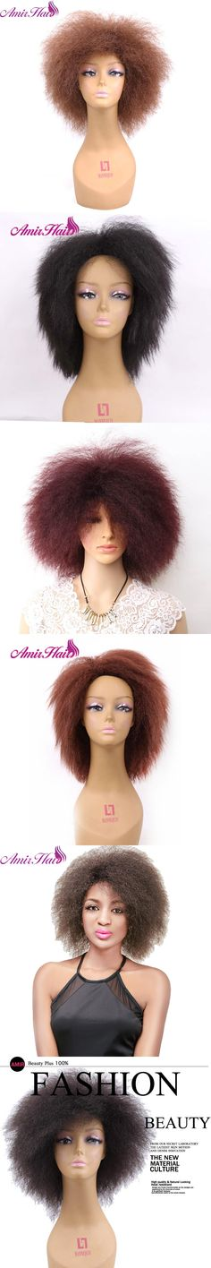 Amir Ombre Short Yaki Straight Japanese Firber Wigs Africa and American Women with Free Part black brown 99J colors for women