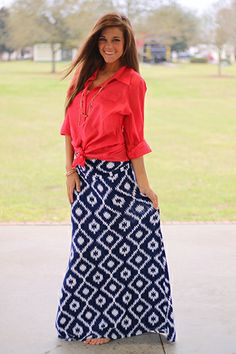 """Holy cow what a gorgeous maxi skirt!! We love the on trend color combo and the fold down waist band you can use to adjust the length! We paired ours with a gorgeous coral top for an added pop of color!  You will never want to take this one off thanks to the soft, stretchy material. Fits true to size. Miranda is wearing the small. From the waistband to the hem: S-39"""" M-40"""" L-40.5"""""""