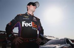 Denny Hamlin has won the pole for the second straight year at Fontana, turning a lap of mph in his Joe Gibbs Racing Toyota. Greg Biffle, Nascar News, Fedex Express, Popular Sports, Nascar Sprint Cup, Daytona Beach, Race Cars, North America, Motorcycle Jacket